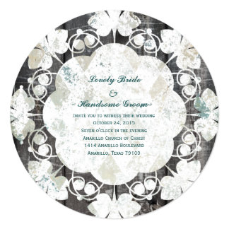 Round Vintage Blue Rough Diamond Wedding Invite