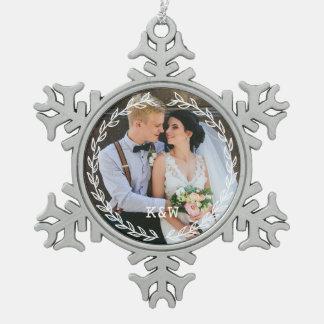 Round Vintage Frame Monogrammed Photo Snowflake Pewter Christmas Ornament