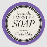 Round Vintage Label Frame Lavender Soap Template Classic Round Sticker
