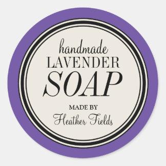 Round Vintage Label Frame Lavender Soap Template Classic Round Sticker