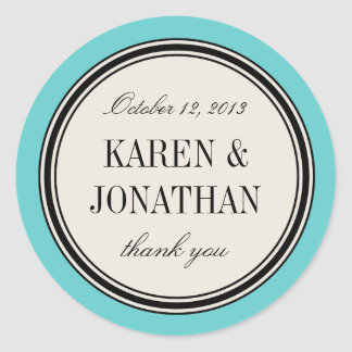 Round Vintage Label, Wedding Favor Template, Blue Classic Round Sticker