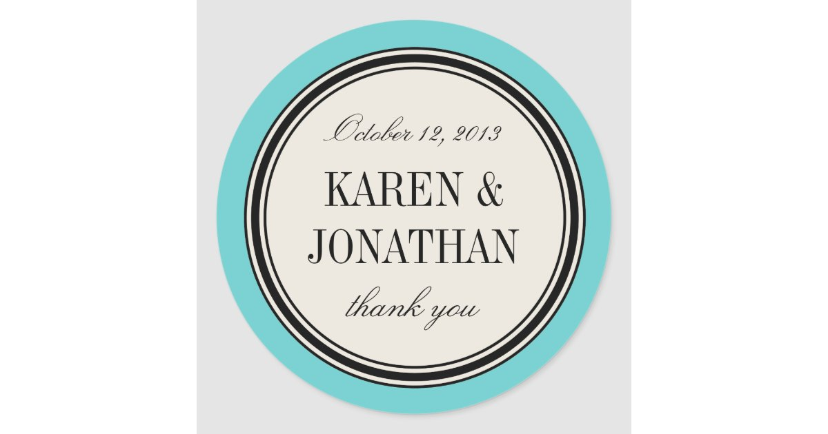 Round Vintage Label Wedding Favor Template Blue Classic Round
