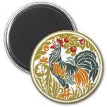 Round Vintage Rooster - Magnet