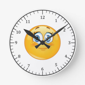 Round Wall Clock/Pink Smiley Face Round Clock