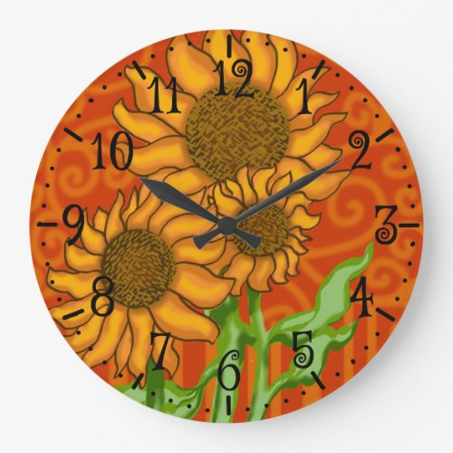 Round Wall Clock/Sunflower Trio Large Clock