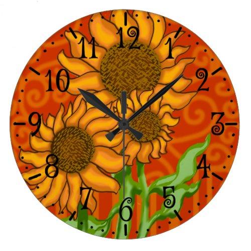 Round Wall Clock/Sunflower Trio Large Clock