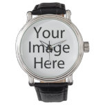Round Watch with Vintage Leather Strap<br><div class='desc'>Create your own personalized Leather Strap Watch by adding your own designs,  text or images.</div>