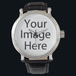 "Round Watch with Vintage Leather Strap<br><div class=""desc"">Create your own personalized Leather Strap Watch by adding your own designs,  text or images.</div>"