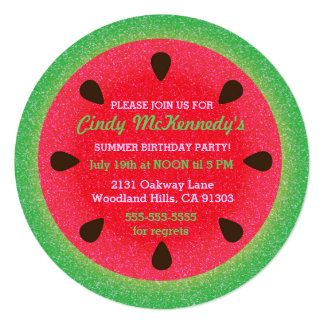 Round Watermelon Party Invitations