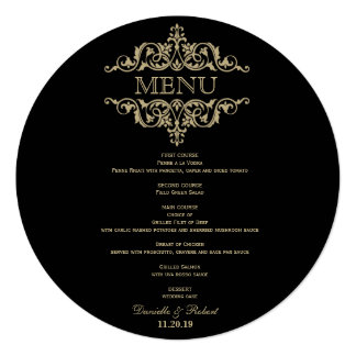 Round Wedding Dinner Menu Card For Plate