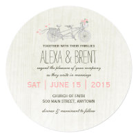Round Wedding Invitation with Tandem Bike