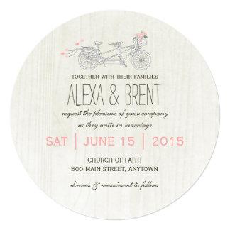 Round Wedding Invitation with Tandem Bike