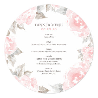 Round Wedding Menu Cards | Pink Watercolor Roses