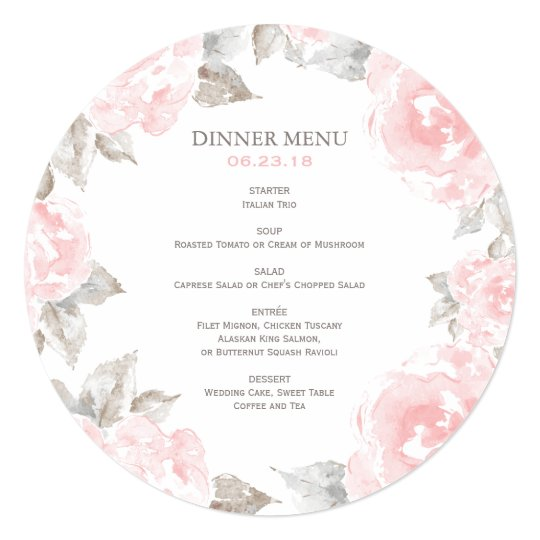 Round wedding menu cards pink watercolor roses zazzle round wedding menu cards pink watercolor roses mightylinksfo Choice Image