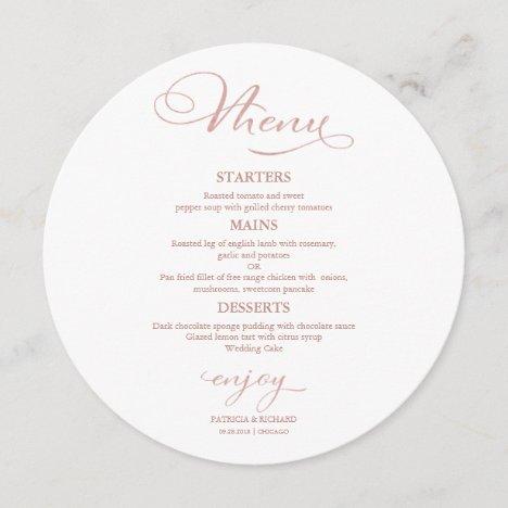 Round Wedding Menu Elegant Calligraphy