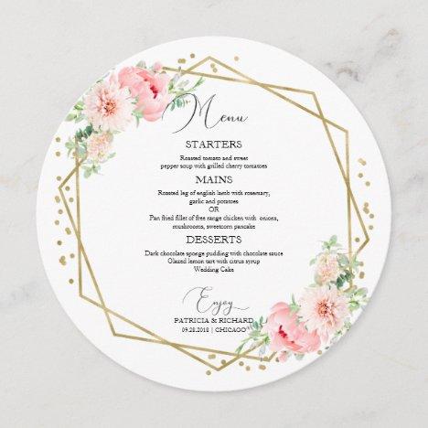 Round Wedding Menu Elegant Floral Geometric