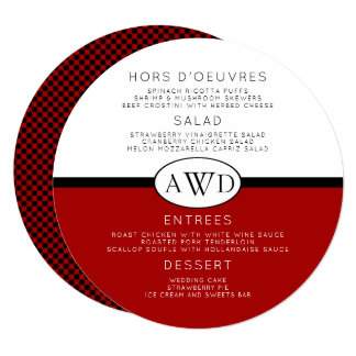 Round Wedding Menu Monogram Template Red Black