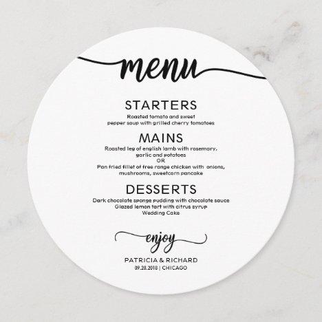 Round Wedding Menu Simple Elegant Calligraphy