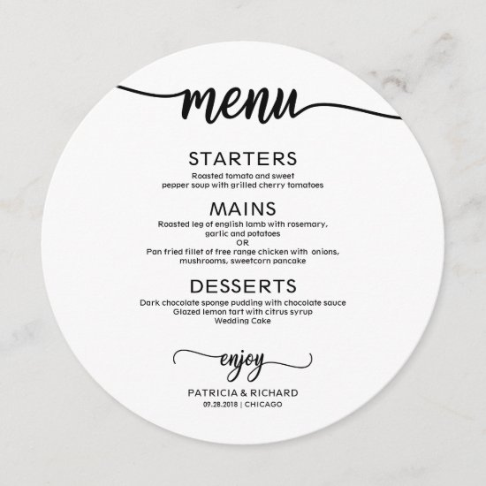 Round Wedding Menu Simple Elegant Calligraphy