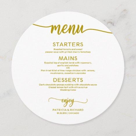 Round Wedding Menu Simple Elegant Gold Calligraphy