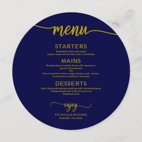Round Wedding Menu Simple Elegant Gold Navy Blue
