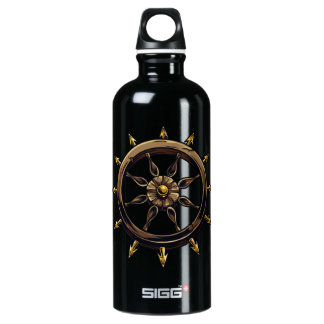 Round wheel with points pagan design.png aluminum water bottle