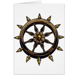 Round wheel with points pagan design.png greeting card