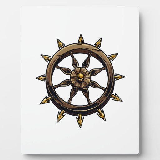 Round wheel with points pagan design.png plaque