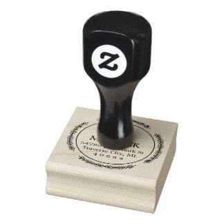 Round Wreath Monogram Return Address Rubber Stamp