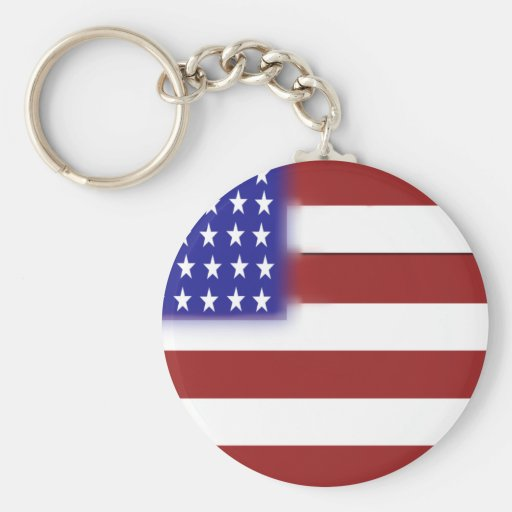 Rounded American Flag Basic Round Button Keychain