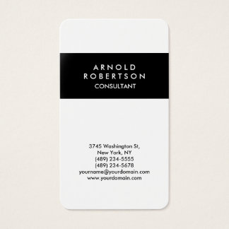 Rounded Corner Black White Elegant Business Card