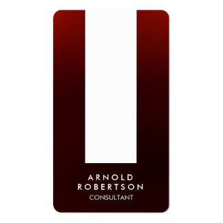 Rounded Corner Brownish Red White Business Card