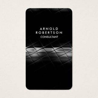 Rounded Corner Grey Black Elegant Pattern Business Card
