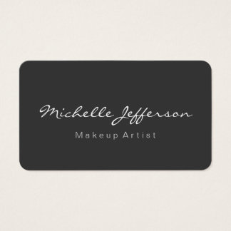 Rounded Corner Grey Makeup Artist Business Card