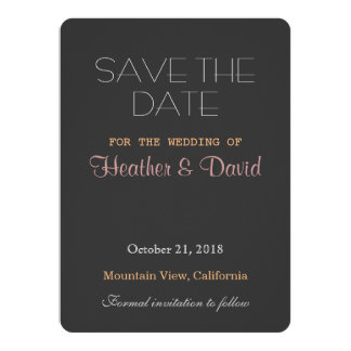 Rounded Corner Grey Save Date Wedding Invitation