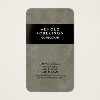Rounded Corner Grey Stone Wall Black Elegant Business Card