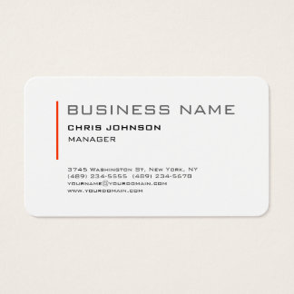 Rounded Corner Orange White Manager Business Card
