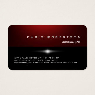 Rounded Corner Red Black Trendy Business Card