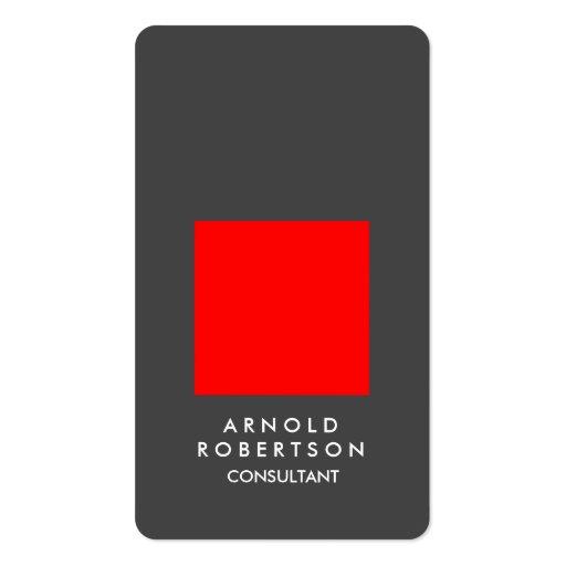 Rounded Corner Red Grey Elegant Business Card
