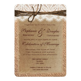 Rounded Corners Burlap Print Wedding Invitations