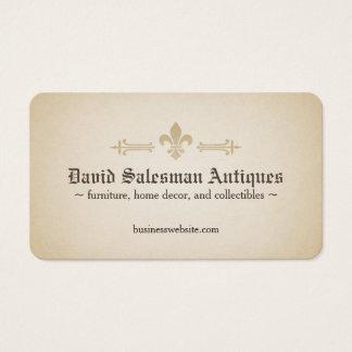 Rounded Corners Fleur-de-lis Vintage Look Business Card