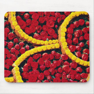 Rounded drops of red roses and yellow flowers  flo mouse pads