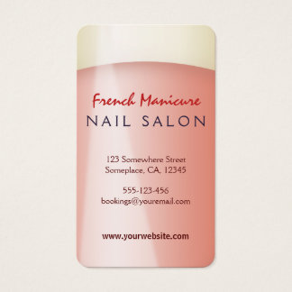 Rounded French Manicure Nail Salon Business Cards
