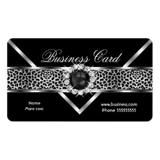 Rounded Leopard Black Silver Diamond Black Pearl Business Card