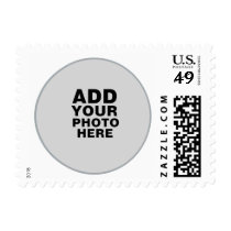rounded photo on white stamp