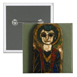 Rounded plaque, depicting Christ or a saint, late 2 Inch Square Button