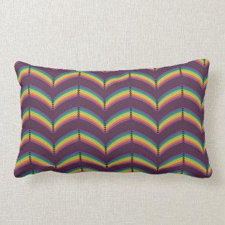 Rounded Rainbow Chevron Lumbar Pillow, Purple