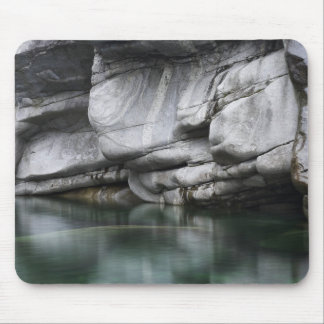 Rounded Rock Cliff by Verzasca River Mouse Pad