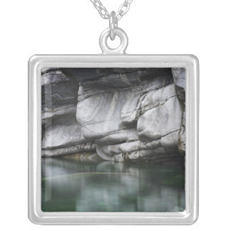 Rounded Rock Cliff by Verzasca River Square Pendant Necklace