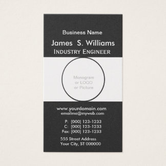 Rounded Shape Unique Black White Minimalist Business Card